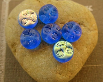 NEW ROYAL BLUE Moons . Czech Pressed Glass Beads . 10 mm .  (10 beads)