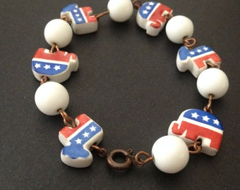 Donkey Elephant Bracelet Glass Beads Democrat Republican Election Jewelry