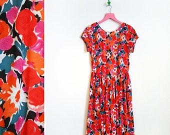 Vintage 1980s Orange and Red Floral Midi Dress Size 12