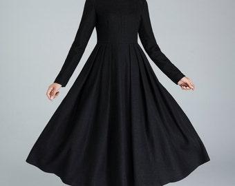black wool dress, pleated dress, winter dress, long dress, fitted and flare dress, evening dress, casual dress, day dress     1622
