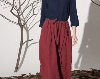 linen skirt, drawstring skirt,  red skirt,skirt pockets, lagenlook skirt,long linen skirt,maxi skirt,Womens skirts, custom skirt,gift (1162)