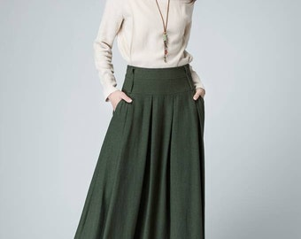 Pleated Skirt,Olive Green Skirt,linen skirt ,maxi skirt, women skirt  A-line Skirt 1481