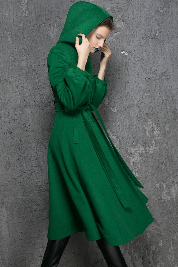 Winter Coat women Coats Green Wool Coat womens coats Green