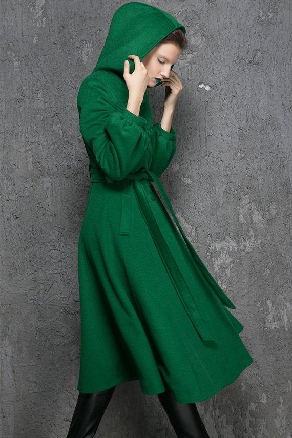Winter Coat women Coats Green Wool Coat womens coats Green