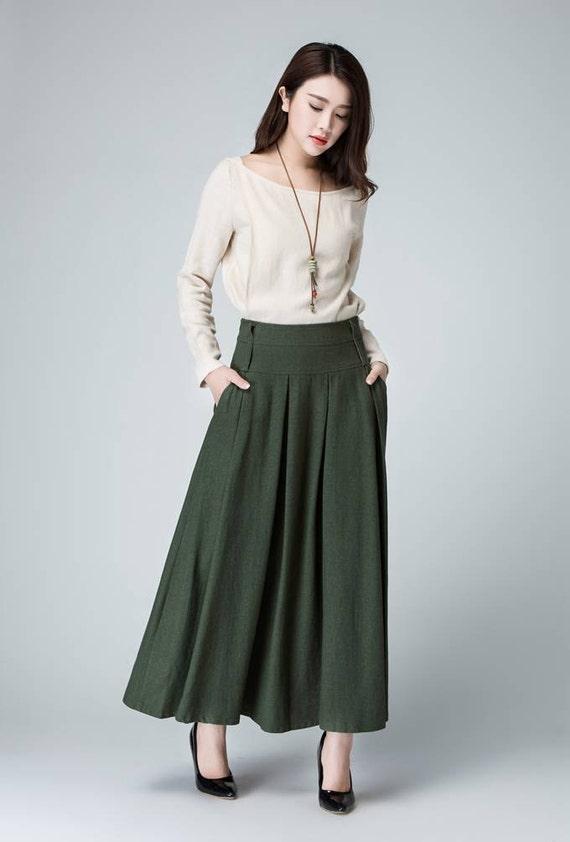 Pleated Skirt,Olive Green Skirt,linen skirt ,maxi skirt, women skirt  A-line Skirt 1481