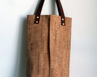 Cork Tote bag with leather straps, Cork handbag, Water resistant cork bag by Nobel King