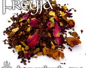 Freyja Devotional Tea - loose leaf honeybush tea, orange, peach, cinnamon, rose, Freya, goddess, norse pagan, love, affection, seidr