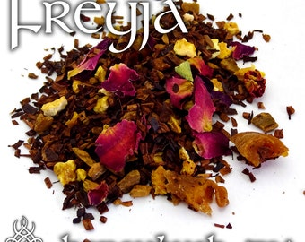 Freyja Devotional Tea - loose leaf honeybush tea, orange peach, cinnamon rose, Freya, Norse Goddess, love affection, Norse mythology