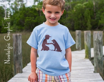 Boy with a Boykin Short Sleeved Nostalgic Graphic Tee in Sky with Chocolate Brown