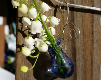 Teeny Tiny Hanging Flower Vase or Personal Scent Diffuser Necklace - Handblown Glass by FireGoddess Glass - Free Shipping