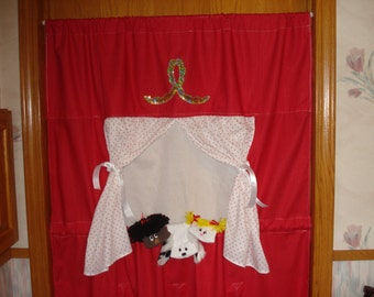 Complete Doorway Puppet Theater Set with 3 Sock Puppets;  Dog; Africian American Girl and Girl w blond braids