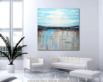 Original Large Abstract Painting Modern Art 48 x 48 Blue modern abstract Acrylic painting Ready to hang by Sky Whitman FREE SHIPPING