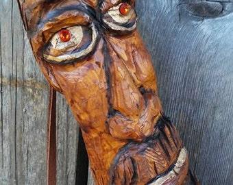 Wizard Walking Stick Staff Cane Hand Carved OOAK