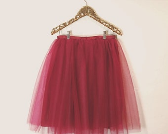 The Bordeaux Tulle Skirt Knee length/Midi Tutu Street Style/Party