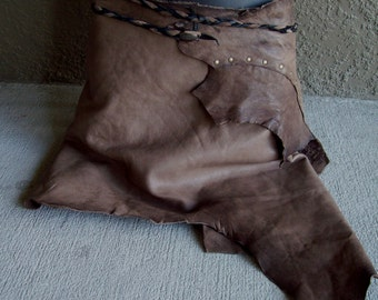 Ashen Pixie Leather Skirt -- burning man wasteland weekend tribal fusion belly dance amazon larp gypsy brown
