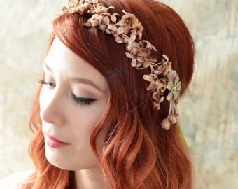 Fall flower crown, golden flower headpiece, autumn hair wreath, vintage headband, whimsical hair piece, hair accessories