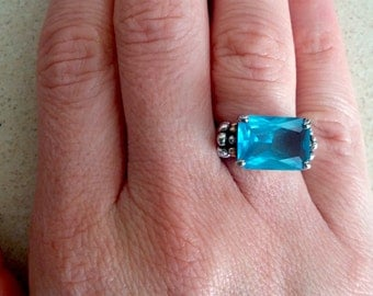 SUPER SALE...STUNNING Huge Blue Topaz Gold and Sterling 925 & 14K Ring. Etsy GIft. Jewelry Gift. Gift for Her