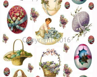 Printable Victorian Easter Eggs   Collage Sheet. Instant Digital Download, Easter Rabbits, Bunnies, Scrapbook Embellishments