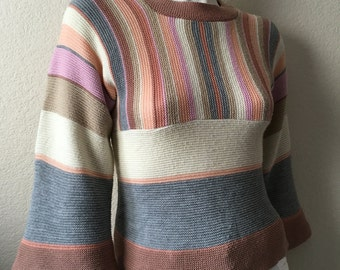 Vintage Women's 70's Boho, Striped Sweater, Pastel, Acrylic, Bell Sleeve by Ami (S)