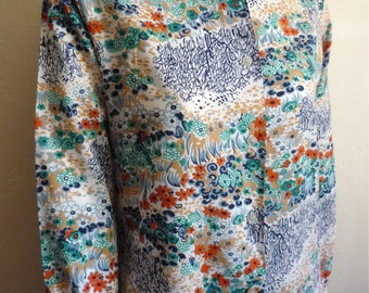 Vintage Women's 70's Disco Blouse, Floral, Polyester, Long Sleeve by K Mart (L)