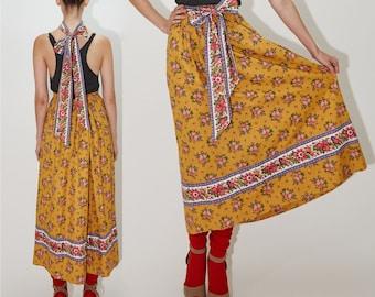 VERA BRADLEY Indiana Midi Maxi Skirt, Marigold Yellow Orange Cotton Floral Print Allover, Elastic Waist, comes w belt, sz Medium - Large