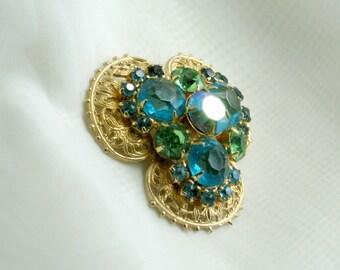 Rhinestone Brooch Green Blue AB Prong Set Stones Vintage 80s Costume Jewelry