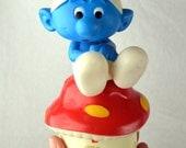 Vintage 1980s 80s Smurf Mushroom Jewelry Music Box - Trinket Dish - 1982