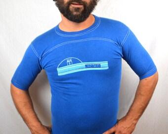 Vintage 1980s Weird Blue Tshirt Tee Shirt