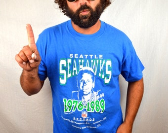 Vintage 80s Seattle Seahawks Right Guard Brian 'The Boz' Bosworth NFL Football Tee Shirt Tshirt