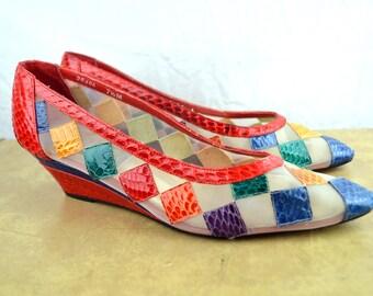 Vintage 80s Snakeskin Rainbow Summer Heels Pumps Shoes - J Renee