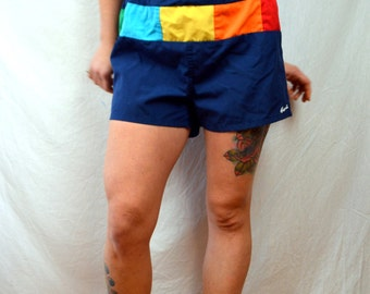 Vintage Rainbow Hawaii 1980s 80s Swim Trunks Summer Shorts