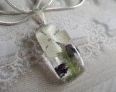 Snowball Bush Blossom, Purple Alyssum, Ferns Small Glass Rectangle Pendant-Symbolizes Purity,Worth Beyond Beauty-Gifts Under 25-Nature's Art