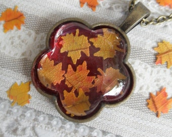 Ombre Maple Leaves Bronze Flower Shaped Pendant Under Glass Atop Deep,Harvest Red Background-Autumn Inspired-Gifts Under 30