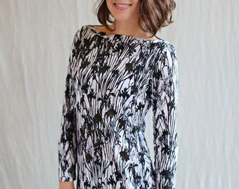Night Floral Top, long sleeve- handmade to order