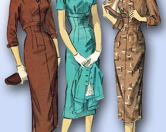 1950s Vintage Advance Sewing Pattern 8045 Misses Empire Waist Dress Size 14 32B