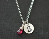 Personalized Initial Necklace / July Birthstone Necklace / Push Present July Baby / Ruby Pendant / Handstamped Necklace