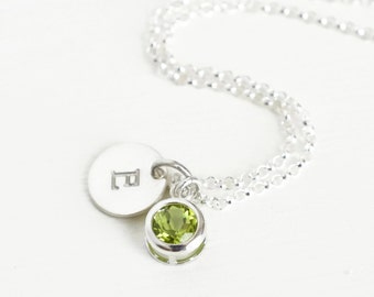 Personalized Birthstone Initial Necklace / August Birthstone Necklace / Genuine Peridot Necklace / Bezel Set Peridot Necklace