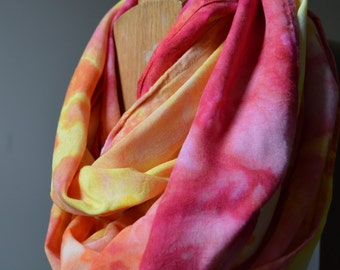 Tie Dyed Infinity Scarf - Hand Dyed Loop Scarf -  Hand Dyed Fall Scarf - Summer Scarf - Ice Dyed Scarf - Red Orange Yellow Landscape Scarf