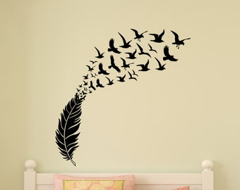 Seagull Wall Decal Bird Feather Eagle Girl Boy Teen Student Dorm Wall Sticker College Dorm Modern Office Wall Decor Nursery Playroom Decal