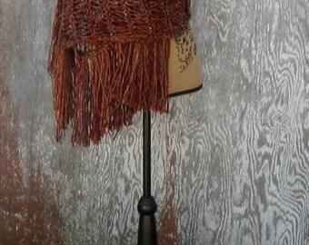 Shades of Brown and Plum Scarf,  Wedding Shawl, Evening Wear, Country Wedding, Evening Wear, Handmade, Crochet