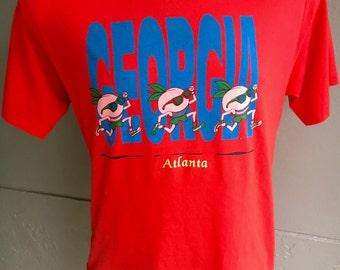 Atlanta Georgia 1980s red peach vintage tee - size L/XL