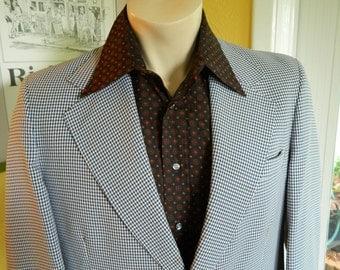 """1970s vintage suit - white blue plaid size 40"""" chest 36"""" waist"""