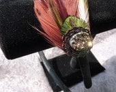 Natural Peacock Feather Hair Fascinator Clip Headband Autumn Fall Wedding Hair by Joolienn