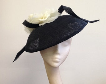 Black & White Dior-esque Saucer - Great hat for a wedding or the Races, can be made in other colours