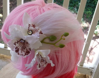 Duos: Jeweled Fairy Hair Clip Fascinator w/ White Jeweled Orchids on White Feather Pad with Bud Spray - Bridal, Wedding, Cosplay, Burlesque