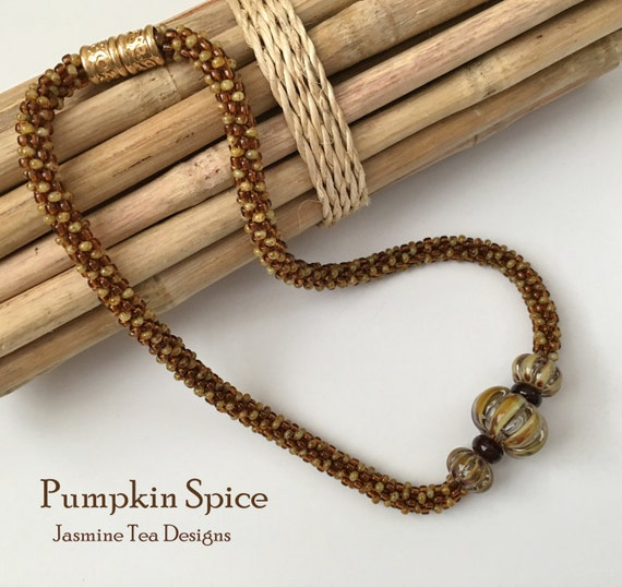 Pumpkin Spice Fully Beaded Kumihimo Necklace, 18 inch Beaded Necklace, Opal Picasso and Topaz Necklace, Magnetic Clasp Necklace