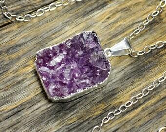 Lavender Druzy Necklace, Lavender Druzy Pendant, Druzy Jewelry, Silver Druzy Necklace, Silver Druzy Pendant, Sterling Silver Chain