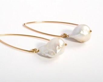 Summer Earrings, Large Pearl Earrings, Beach Jewelry, Baroque Pearls, Delicate Gold Earrings, Pearl and Gold Earrings, Gold and Pearl, Gold