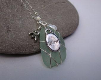 Seafoam Sea Glass Pendant Necklace - Inspirational Pendant - Believe - Dragonfly
