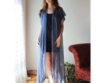sheer linen robe with metallic sparkle in lightweight jersey - MICA lounge wear range - made to order